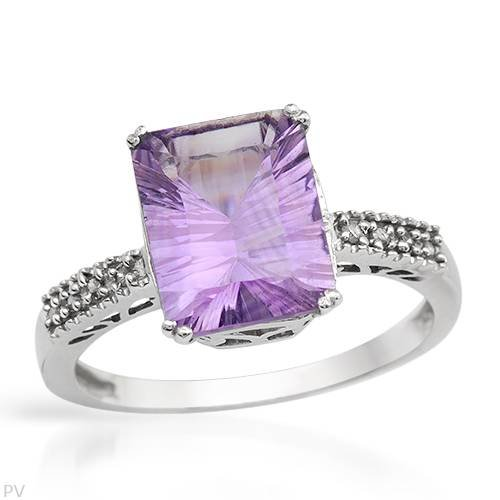 Cocktail Ring With 2.00ctw Precious Stones - Genuine Amethyst and Diamonds Made in White Gold (Size 7)