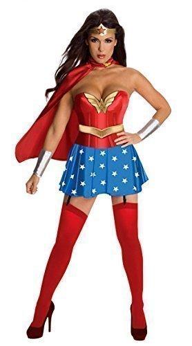 Donna 5 Pezzi Sexy Wonder Woman Costume Taglia 42 Mantello Da Vestito Maniche e Corona