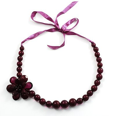 Purple Flower Resin Ribbon Necklace