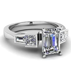 1.30 Ct Emerald Cut Diamond Tapered Style Engagement Ring Bezel Set FLAWLESS GIA 14K