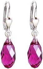 925 pendientes de plata con cristales SWAROVSKI Briolette cristal fucsia, rosa