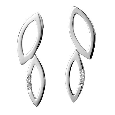Hot Diamonds Multi Leaf Silver And Diamond Earrings