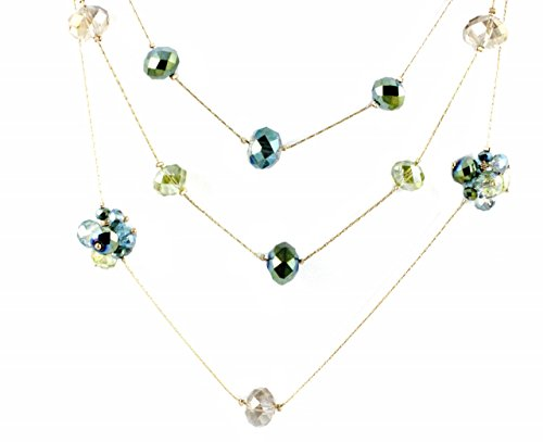 """C.A.K.E. By Ali Khan Necklace, 18"""" Gold-Tone Green And Teal Glass Bead Three-Row Illusion Necklace"""