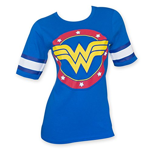 DC Comics Wonder Woman Logo Juniors Blue Hockey T-Shirt