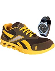 Delux Look Men's Yellow Synthetic Leather Running Sports Shoes With Watch Free