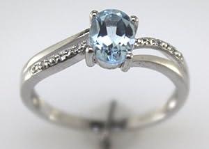 9 Cts 375/1000 Or Blanc Femmes Certifié Diamant Et Topaze Bleue Bague - Couleur G Pureté SI - Indépendant Certificat De Diamant - 9ct White Gold Ladies Diamond & Blue Topaz Ring - Colour G Clarity SI - Independent Diamond Certificate