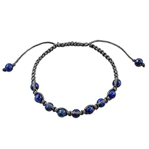 NOVICA Lapis Lazuli Blue Beaded Macrame Shamballa Bracelet, Adjustable Length, 'Truth and Prayer'
