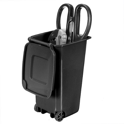 Water & Wood Trash Can and Recycling Mini Storage Bin Pen Holder (Black)