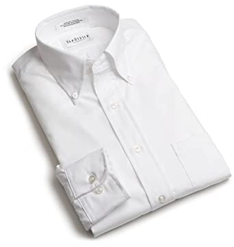 Van Heusen Men's Long Sleeve Easy Care Pinpoint Oxford Solid Shirt, White, 16 - 32/33