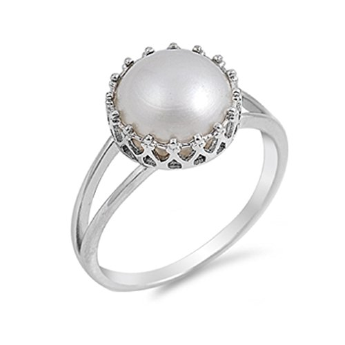 Freshwater Simulated Pearl Designer Ring Sterling Silver 925 Size 10 (Pearl Ring Size 10 compare prices)