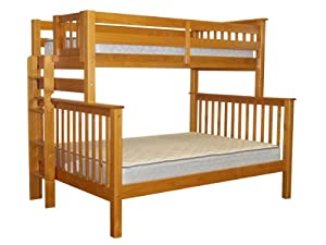 Bedz King Mission Style Twin Over Full Bunk Bed with End Ladder, Honey from Bedz King - DROPSHIP