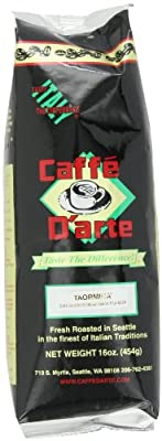 Caffe D'arte Taormina Whole Bean Coffee, 16-Ounce Foil Bags (Pack of 2)