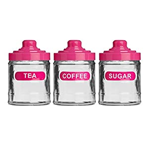 Set of 3 hot pink colour glass 760ml tea coffee sugar kitchen storage canister jars lids amazon - Pink tea and coffee canisters ...