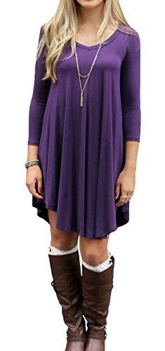 LILBETTER Frauen Langarm-V-Ausschnitt-beiläufige lose T-Shirt-Kleid (Lila S)