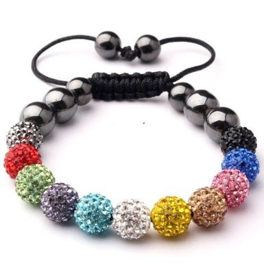 CAITS-JEWELLS © , Shamballa Style Bracelet MULTI (No Strings) Disco Ball Friendship Bead Unisex Bracelets Crystal Beads