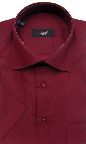 MUGA mens Shortsleeve shirts for Casual and Formal, Burgundy, Size M