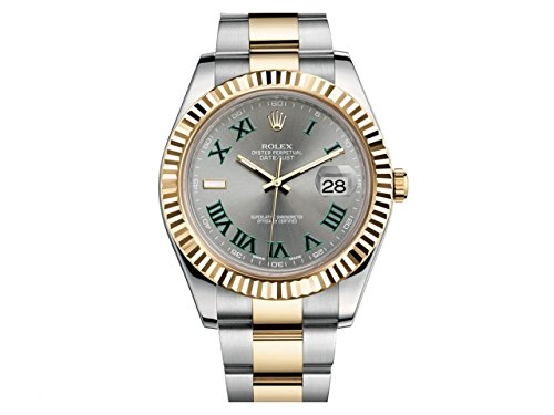 NEW Rolex Datejust II Grey Green Roman Dial Stainless Steel and 18K Yellow Gold Mens watch 116333 GRO