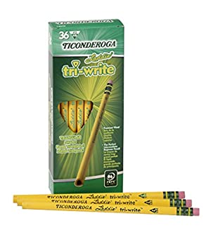 Caja de Lápices Dixon Ticonderoga Laddie Tri-Write, de figura triangular #2, caja de 36 lápices, color amarillo