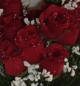 Silk Rose Flowers w/Raindrops