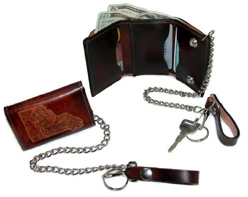 Wildlife Embossed Trucker Chain Wallet (Brown/Eagle)