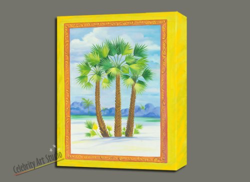 Tropical Palm Beach Art Painting Mixed Media Oil Acrylic Canvas Mounted 24X31