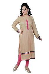 Kittus Fashion House Women's Cotton Straight Kurti (Kskrt-1101_Beige_Medium)