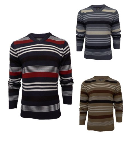 Mens Kensington 1A1080 Knitted Striped Jumper (MEDIUM = 42