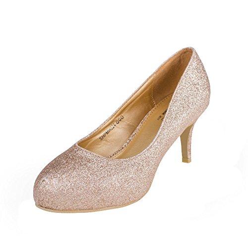 SheSole Women's Sexy Mid Heels Dress Pump, Glitter Gold 7 F(M) UK/9.5 B(M) US