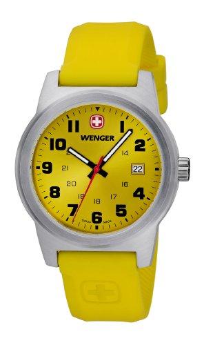 Wenger - 010441113 - Montre Mixte - Quartz Analogique - Bracelet Silicone Jaune