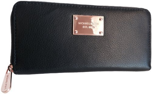 Michael Kors Black Zip Around Continental Leather Wallet