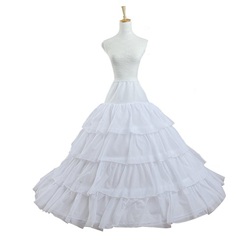 VIVIANSBRIDAL 4 Layers 4 Hoops Gowns Petticoats for A-line Wedding Dress White