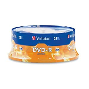 Verbatim 4.7 GB up to 16x Branded Recordable Disc DVD-R (25-Disc Spindle) 95058