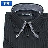2重襟ボタンダウン 黒ジャガードストライプ 半袖ワイシャツ 半袖シャツ メンズ 半袖 ワイシャツ Yシャツ Sサイズ