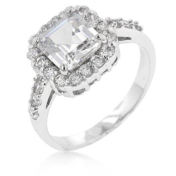 White Gold Rhodium Anniversary Style CZ Showcase Ring featuring Princess Cut Center CZ with Pave Round CZ Trim