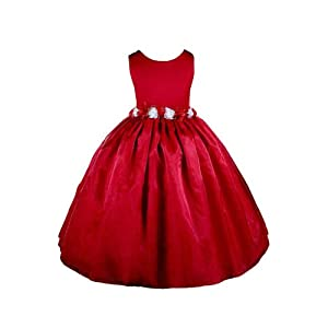 Elegant Red Flower Girl Dress