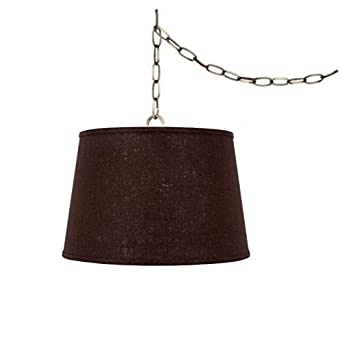 upgradelights swag lamp light pendant plug in chain hung lamp brown. Black Bedroom Furniture Sets. Home Design Ideas