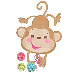 Fisher Price Monkey Its a Boy or Girl Welcome Baby 40 Shower Mylar Balloon
