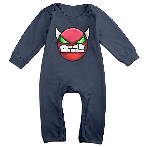 LCYCAD Newborn Babys Boy's & Girl's Geometry Angry Dash Long Sleeve Romper Bodysuit Outfits For 6-24 Months Navy Size 18 Months