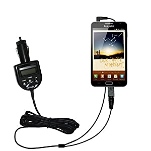 Samsung GALAXY Note compatible Integrated 12v DC Car Charger and FM Transmitter - Uses Gomadic TipExchange to play music on the FM radio