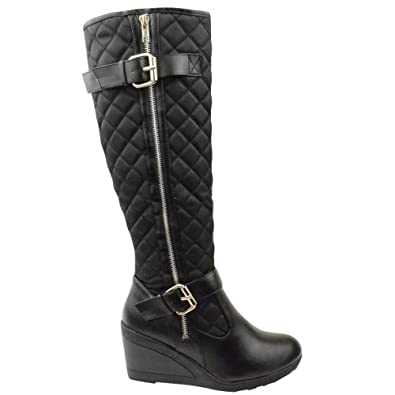 LADIES WOMENS LOW MID HIGH HEEL WEDGE DIAMOND QUILTED KNEE CALF ZIP UP CASUAL BOOTS SHOES SIZE (UK 4 / EU 37 / US 6, Black)