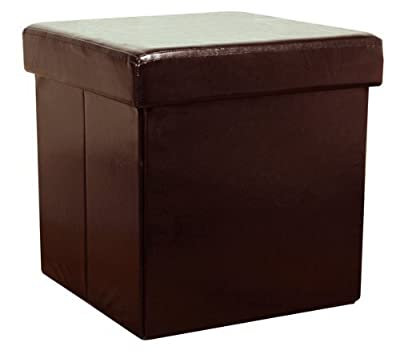 Brown Faux Leather Storage Box by THE MORE SHOP