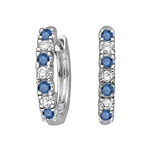 14K White Gold, Alternating Blue and White Diamond Huggie Earrings (1/4 cttw) from Katarina