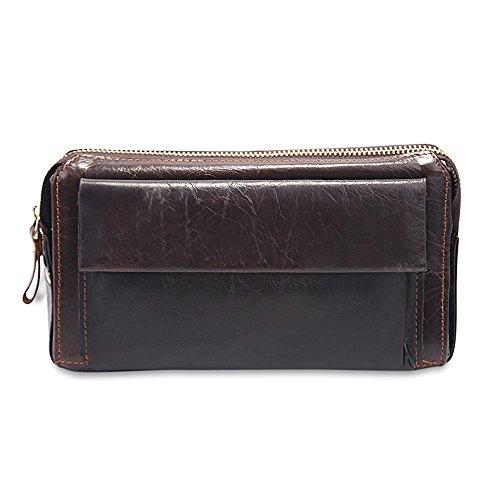 LQT a portafoglio, in pelle, da uomo, colore: marrone