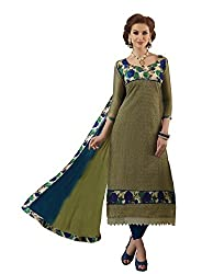 Dress Material Chanderi Mehandi Green Embroidered + Lace Unstitched