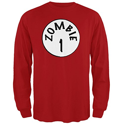 Halloween Zombie 1 One Costume Red Adult Long Sleeve T-Shirt