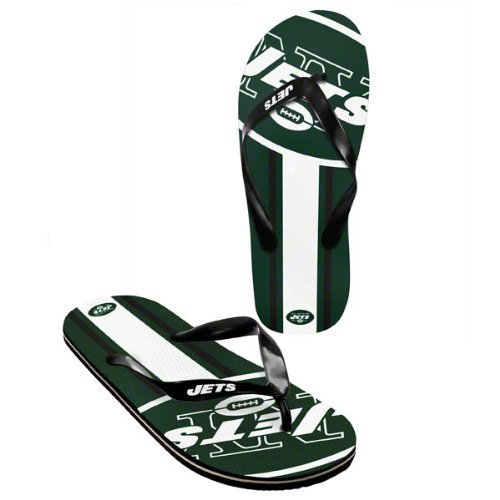 New York Jets official NFL Unisex Flip Flop Beach Shoes Sandals slippers size medium at Amazon.com