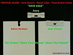 125 Pack VERTICAL BLIND Vane Saver ~ IVORY/OFF WHITE Curved Repair Clips ~ Fixes Broken Holes