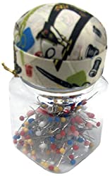 Singer Quilting Pins in Jar with Pin Cushion Lid