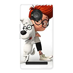 Enticing Boy and Spec Dog Multicolor Back Case Cover for Yu Yunique
