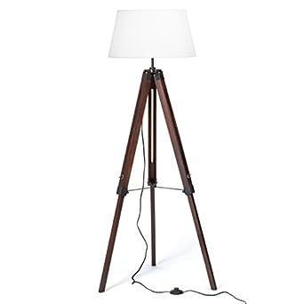 lampe sur pied tr pied avec ombre de tissu un tr pied t lescopique en bois 1x e27 max 60w h. Black Bedroom Furniture Sets. Home Design Ideas
